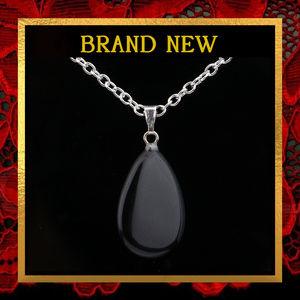Jewelry - Black Agate Gemstone Pendant Necklace  #161